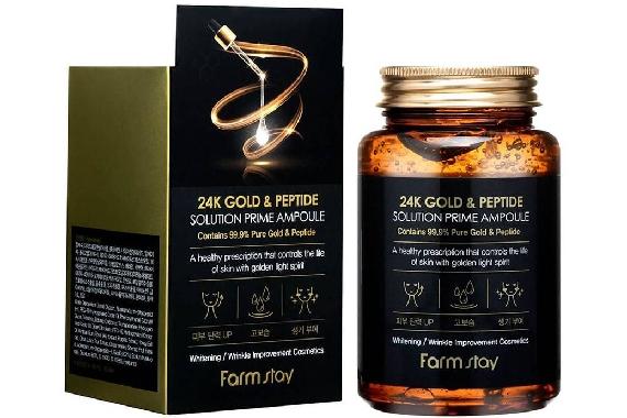 Ампульная сыворотка 24K золото и пептиды -  FarmStay 24K Gold & Peptide Solution Prime Ampoule