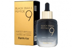 Омолаживающая сыворотка черная улитка и пептиды - Farmstay Black Snail & Peptide 9 Perfect Ampoule